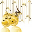 Gold Christmas balls  — Stock Vector