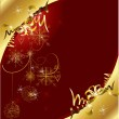 Red Christmas card with snowflakes and gold baubles — Stock Vector