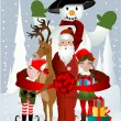 Santa Clause, Rudolph, Elf and Snowman - Stock Vector