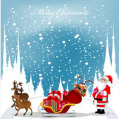 Christmas card with Santa Claus,reindeers and snowflakes in the — Stock Vector