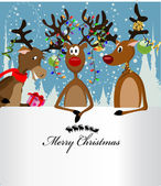 Merry Christmas Card with three happy reindeer and a text box — Stock Vector