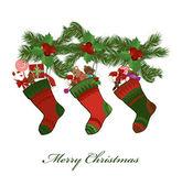 Illustration of christmas socks on a white background — Stock Vector