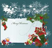 Karte der frohen Weihnachten — Stockvektor