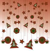 Christmas balls with scrolls — Stock Vector