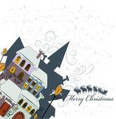 Santa Claus comes to city — Stock Vector