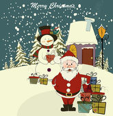 Christmas card with Santa and snowman. Vector. Editable — Stockvector