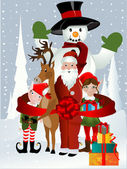 Santa Clause, Rudolph, Elf and Snowman — Stock Vector