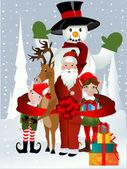 Santa Clause, Rudolph, Elf and Snowman — Stock Vector
