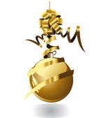 Gold christmas ball — Stock Vector