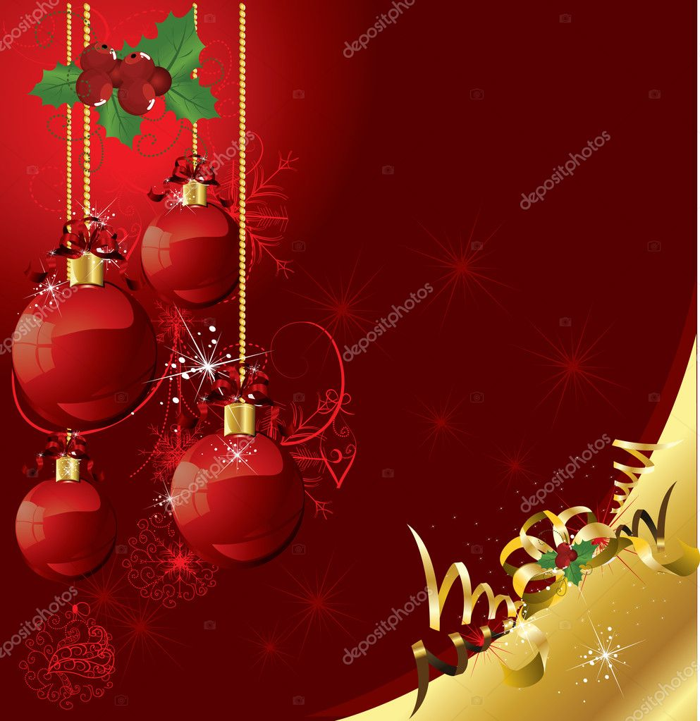 Beautifull red christmas ball postcard on red background   Stock Vector #6601401