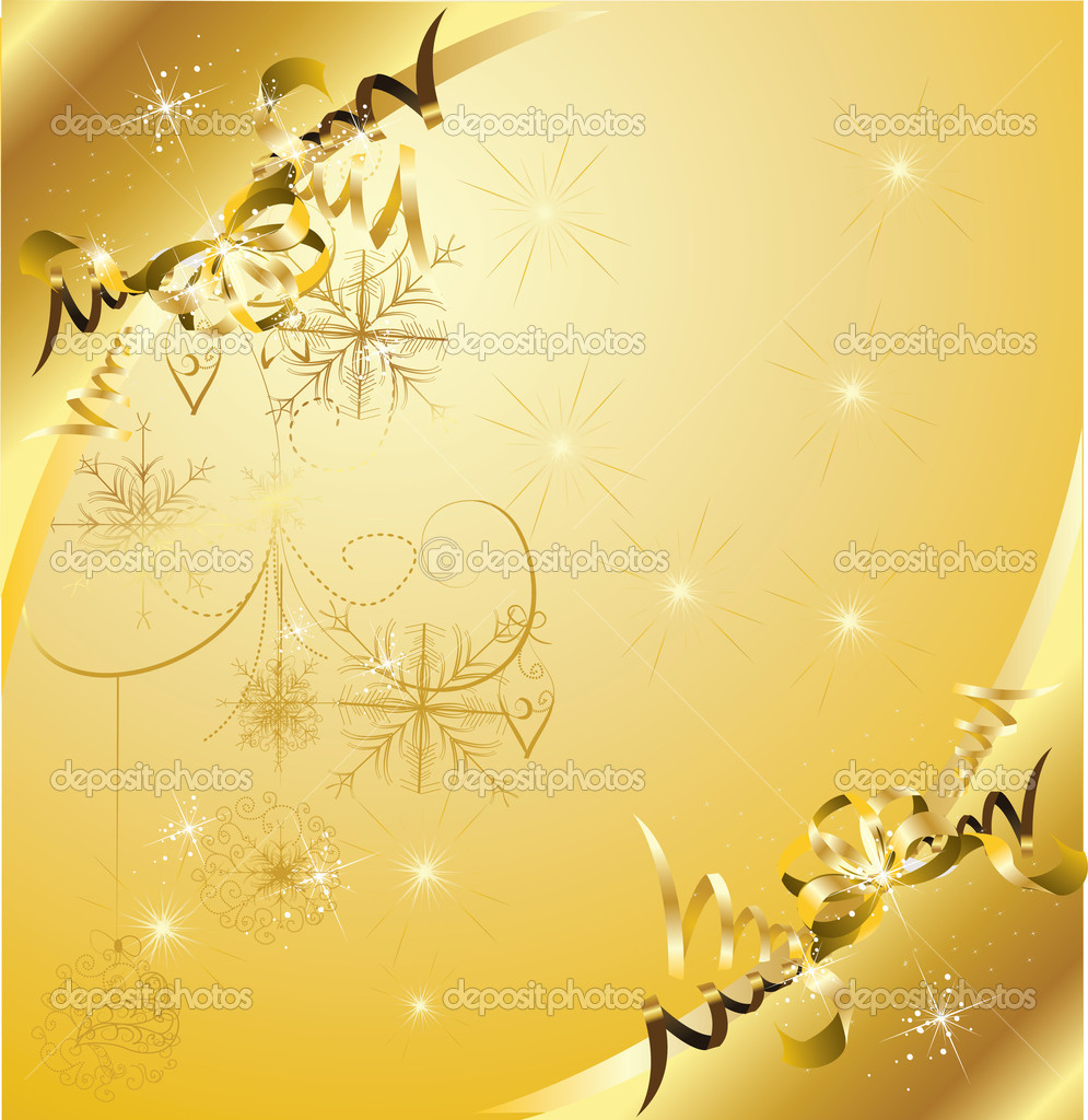 Golden christmas background  — Stock Vector #6601418