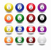 Glossy pool balls — Stock Vector