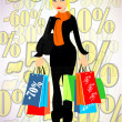 Stock Vector: Shopping lady