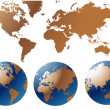 Globe and Map of the World — Imagen vectorial