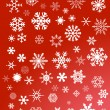 Stock Vector: White snowflakes on red background