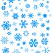 Stock Vector: Blue snowflakes on white background