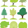 Collection icons. Leaves, trees — Stock Vector