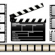 Movie clapboard and filmstrip — Stock Vector