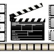 Stock Vector: Movie clapboard and filmstrip