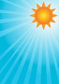 Sun on a blue sky — Stock Vector
