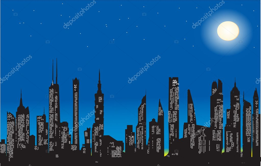 Modern city at night — Stock Vector #5715091