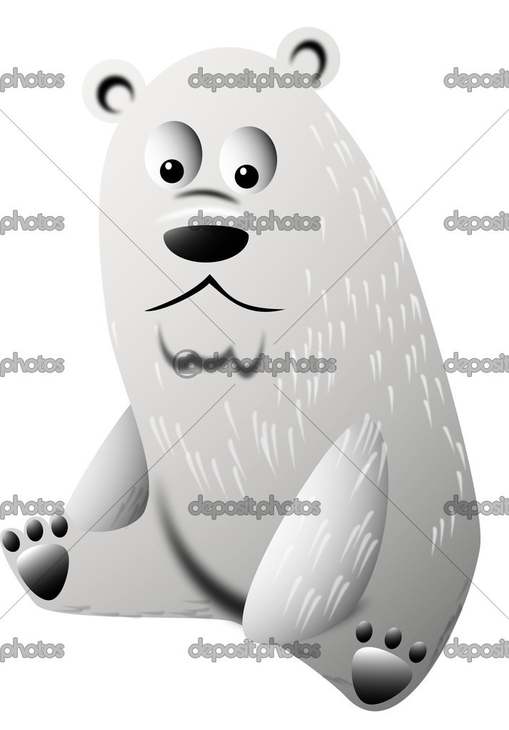 Cartoon polar bear sits and stares into the camera — Stock Vector #5615139