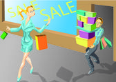 Sale girl — Stock Vector