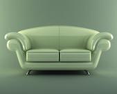 White leather sofa — Stock fotografie