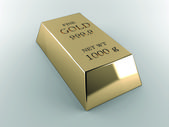 Bar of gold weighing 1 kg — Stock Photo