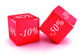 Red boxes discounts — Stock Photo