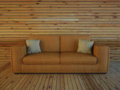 Sofa in the room from a wood — Stock Photo
