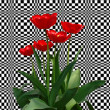 Royalty-Free Stock Photo: Red tulips against an optical grid.