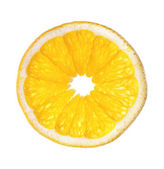 Single slice of orange isolated on white — Foto Stock