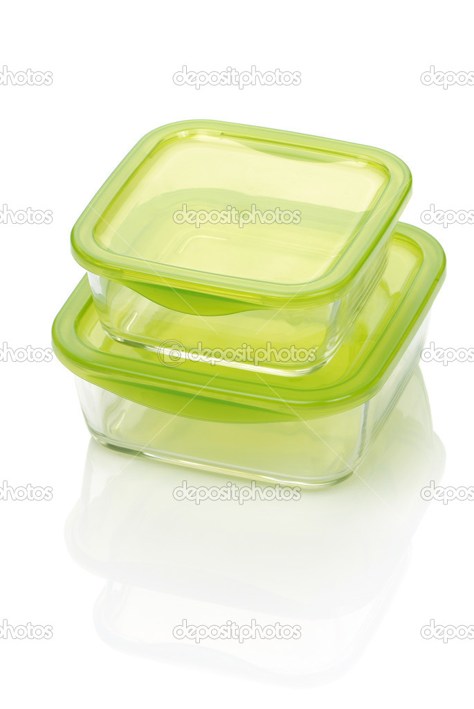 Two glass food container isolated on white — Stock Photo #5794960