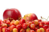 Ripe cherry, apple and nectarine isolated on white — Stock Photo