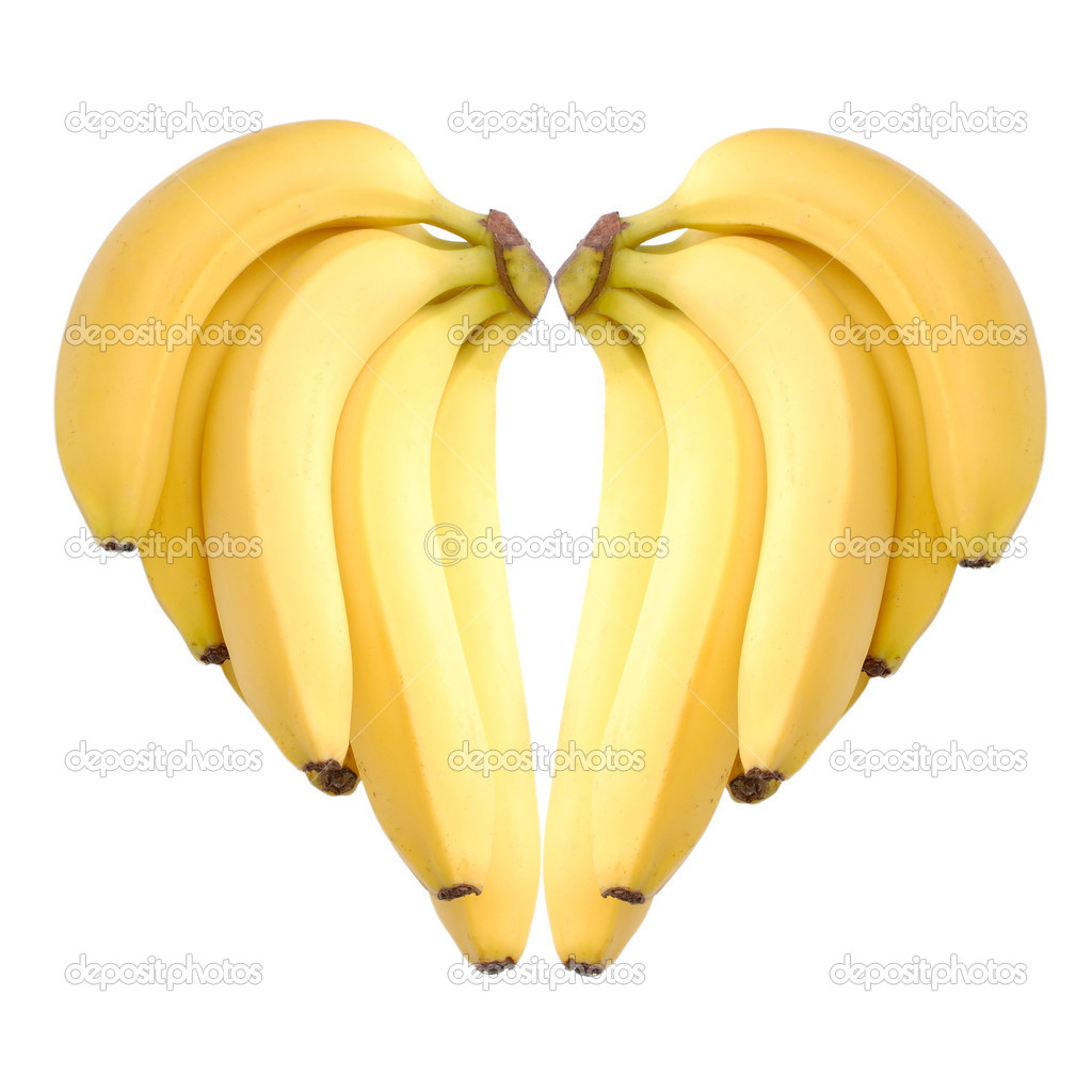 Ripe bananas heart isolated on white  Stock Photo #5967925