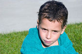 Boy with towel in outdoor — Stock Photo