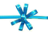 Blue gift ribbon and bow on white background — Stock Photo