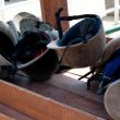 Helmets on table. - Photo