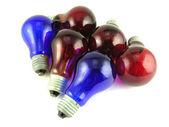 Lâmpadas azuis escuras e vermelhas — Foto Stock