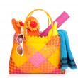 Bag with beach items — Stock Photo