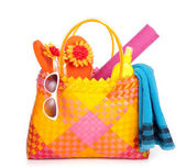 Bag with beach items — Zdjęcie stockowe