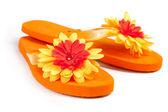 Oranžové žabky s květinami — Stock fotografie