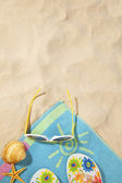 Beach concept with towel — Stock Photo