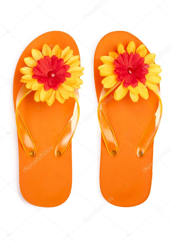 Orange flip-flops with flowers on a white background — Stock Photo #6706438