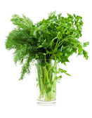 Dill and parsley in glass — Stock Photo