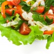 Healthy vegetable salad with lettuce, orange pepper, tomatoes an — 图库照片