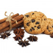 Cinnamon sticks, anise stars and chocolate chips cookies — Stock Photo #5670174