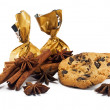 Cinnamon sticks, anise stars, candy and chocolate chips cookies — Stock Photo #5670183