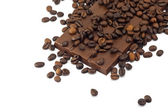 Chocolat bar and coffee beans on white background — Stockfoto